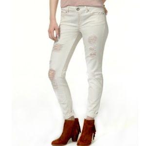 Rewash Ripped Natural Wash Skinny Jeans Cuffed